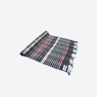 Contemporary Swedish Handwoven - Cotton - Craftsmanship Multicolour Blue Grey White Red Rag Rug