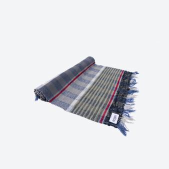 Contemporary Swedish Handwoven Cotton Craftsmanship Multicolour Blue Grey Red White Rag Rug