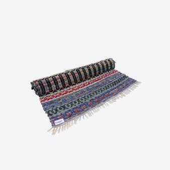 Large Contemporary Swedish Handwoven Cotton Craftsmanship Multicolour & Black Pattern Rag Rug