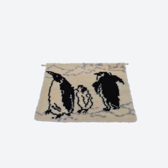 Vintage Woven White Penguin Swedish Wool Rya Rug Wall Decor Circa 1960s