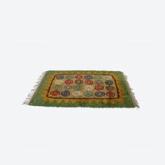 Vintage Woven Green Swivel Country Style Wool Rya Rug 1960s
