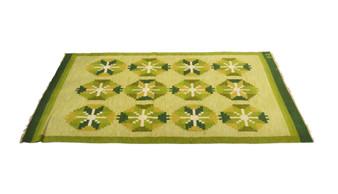 Vintage Swedish Flat Weave Rölakan Rug in Green signed B.U. 1960s