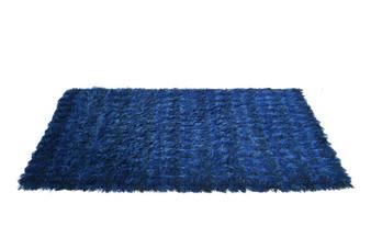 Vintage Blue Swedish  wool rug made in Svangstarman VDN bu Svanö