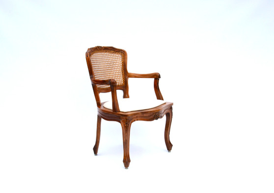 Antique Luis Xv Style Cane And Cherry Armchair Circa 1930s