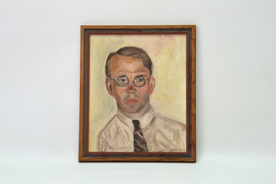 Vintage Mid - Century Oil on Canvas Painting Man Portrait Signed By D.F-G. Circa 1940s
