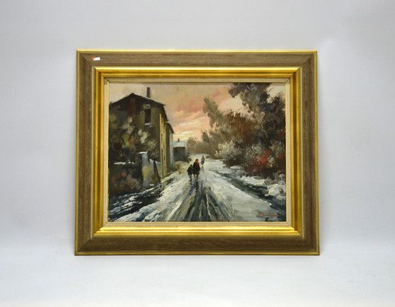 Vintage Oil On Canvas Winter City Street Painting, Signed By G., Circa 1960's