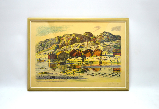 Vintage Lithography On Paper Fishing Village Illustration, By Folke Persson 1956