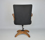 Antique Leather And Oak Office Desk Swivel Chair 1900s, Sweden
