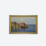 Vintage Oil On Canvas Seaside Fishing Port Painting, Signed By V., Circa 1950s