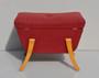 Vintage Retro Dresing Table Stool Storage In Red Wool 1960s