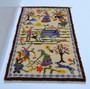 Vintage Woven Ethnographic Motif Country Style Wool Rya Wall Rug Decor 1960s