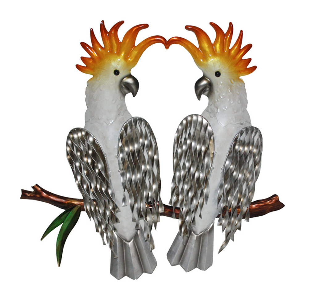 Two Cockatoo's On A Branch Metal Wall Art