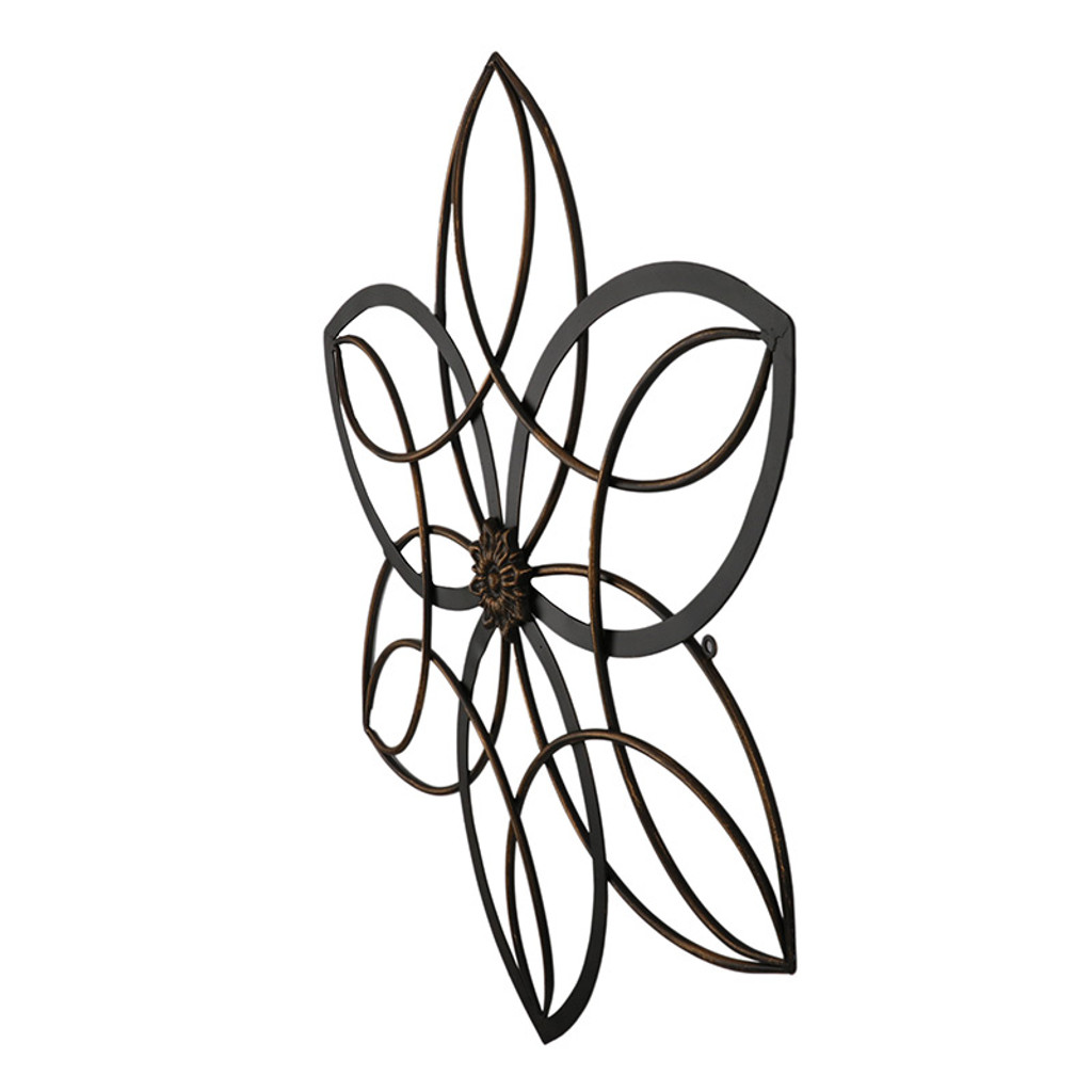 Black And Gold Flower Metal Wall Art 65cm