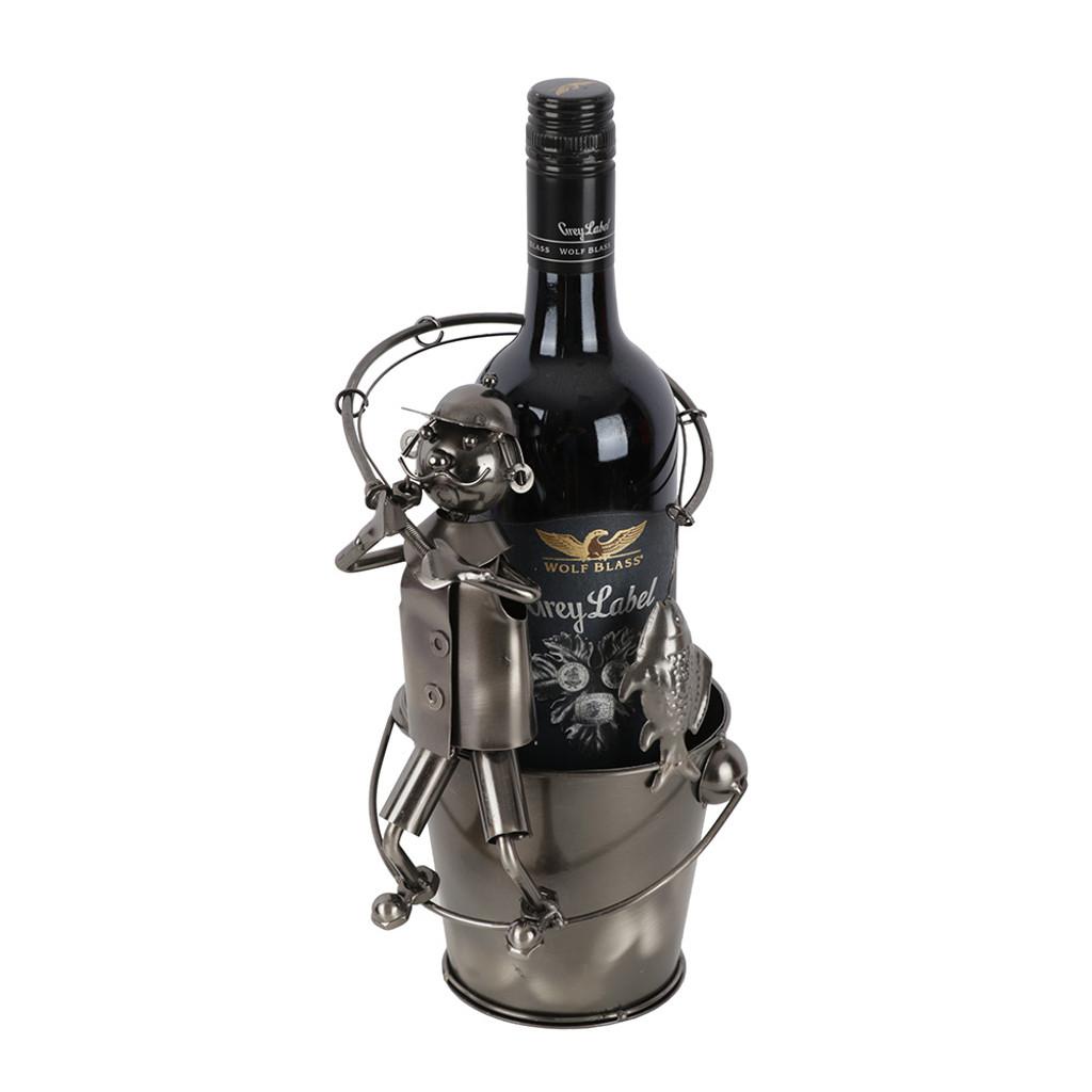 32b0833e96 Fishing Man Sitting On Bucket Bottle Wine Holder | Love Home Decor