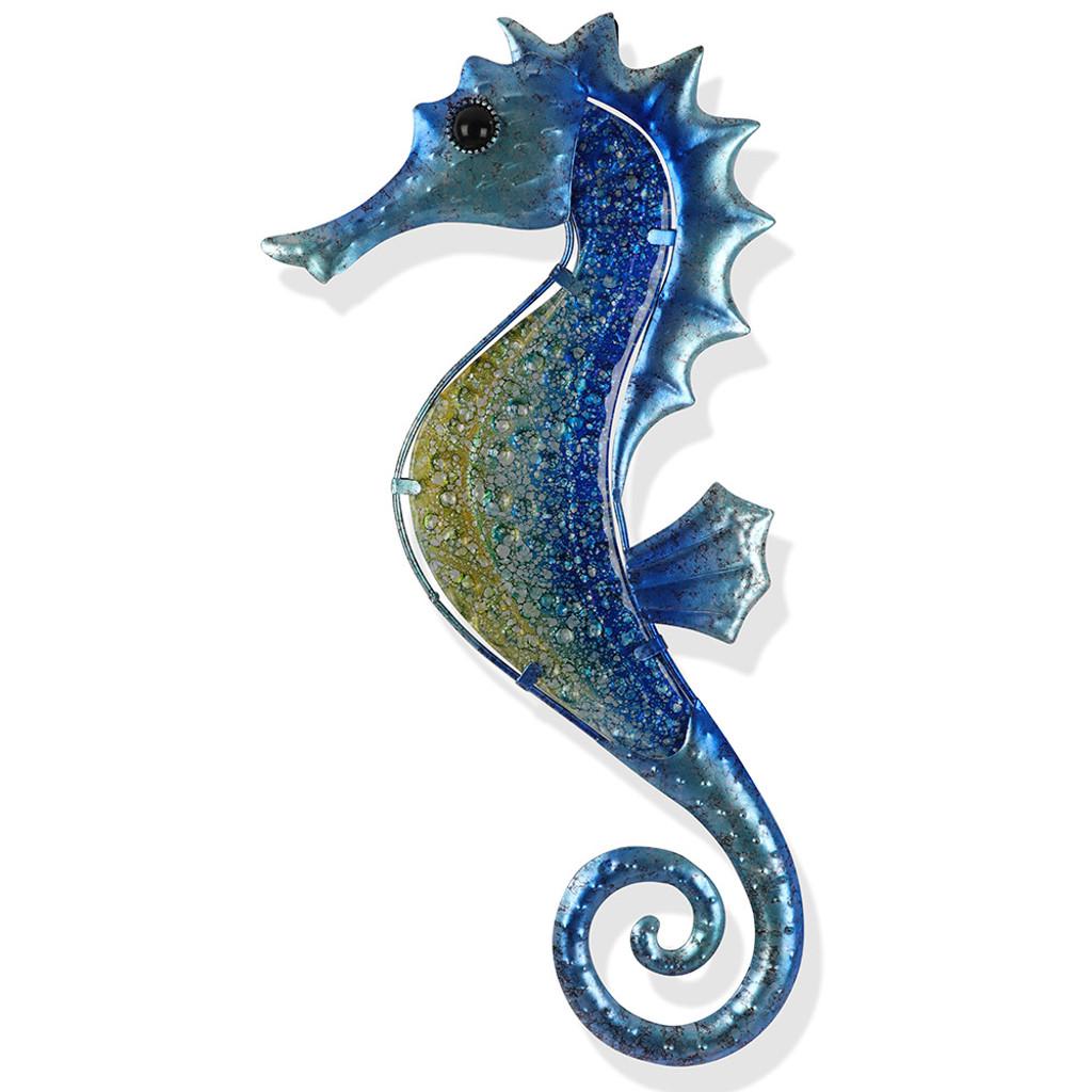 Tones of Blue Seahorse Metal Wall Art 43cm