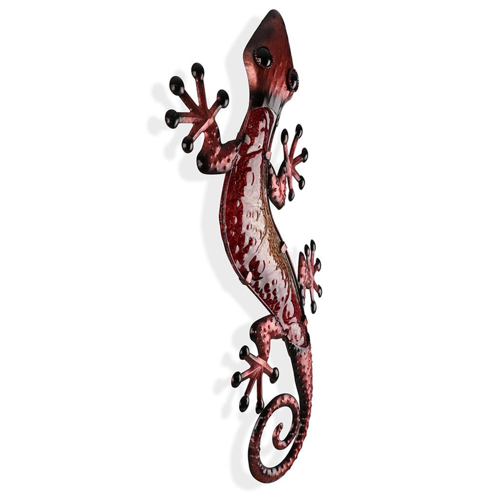 Large Desert Red Glass Gecko Metal Wall Art 60cm