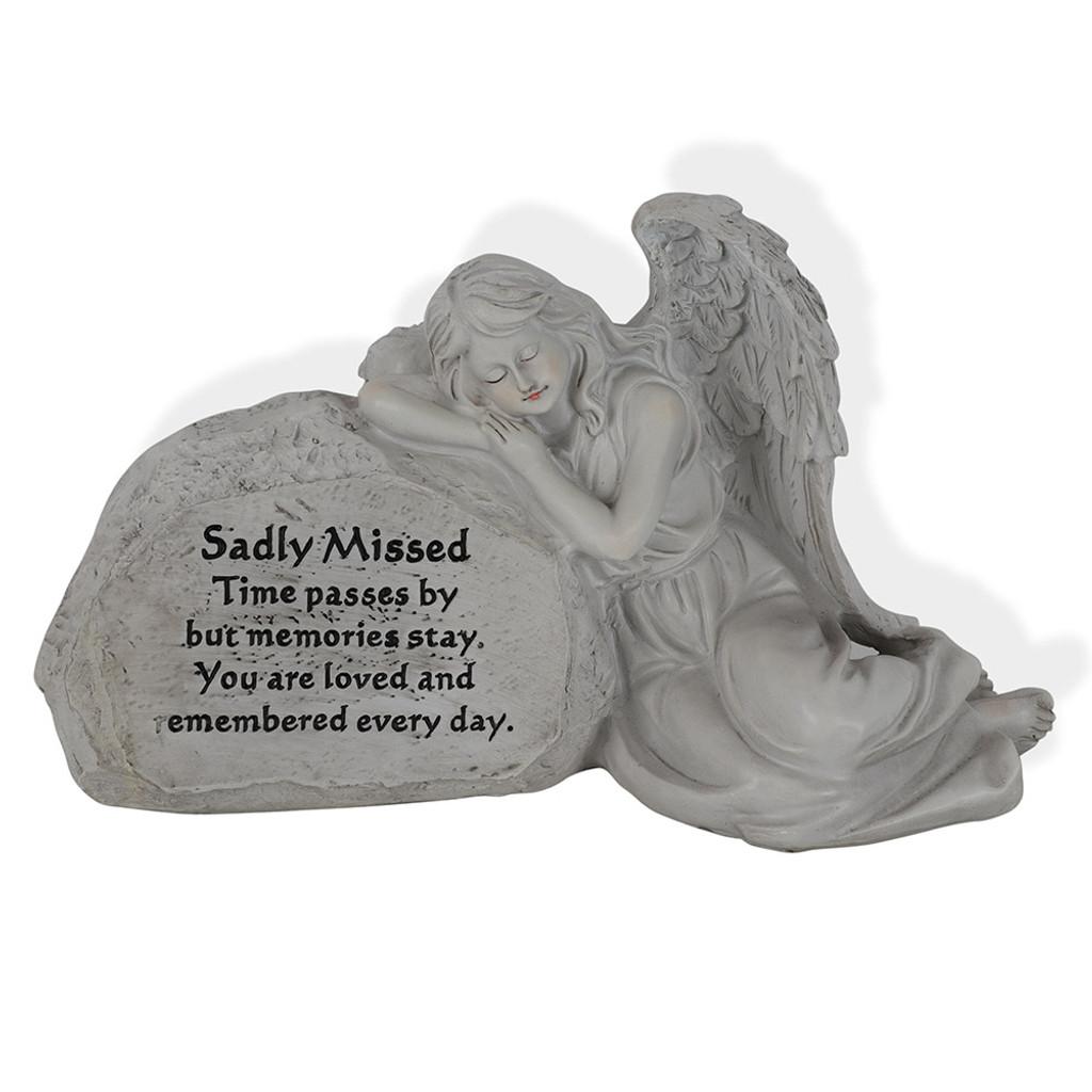 Angel Memorial Rock - Sadly Missed 30cm