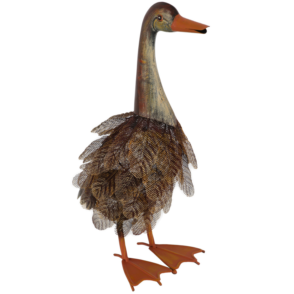 Brown Feather Duck Metal Statue 46cm
