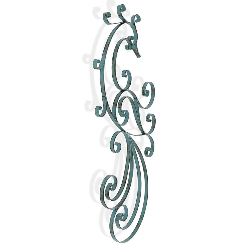 Antique Blue Bird Spiral Metal Wall Art
