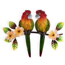 Two Tropical Parrot Metal Wall Art  40cm