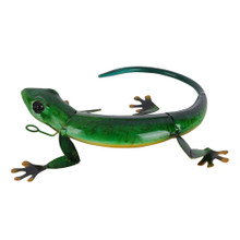 Green Curled Gecko Hanging Metal Wall Art 28cm