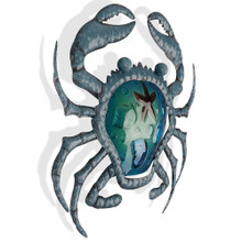 Blue Sea Crab Metal Wall Art 40cm