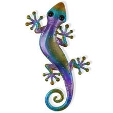 Purple Blue Glass Gecko Metal Wall Art 43cm