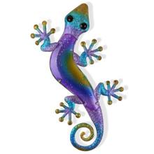 Large Purple Blue Glass Gecko Metal Wall Art 60cm
