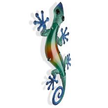 Large Blue Green Glass Gecko Metal Wall Art 60cm