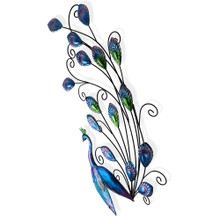 Elegant Peacock Metal Hanging Wall Art 78cm
