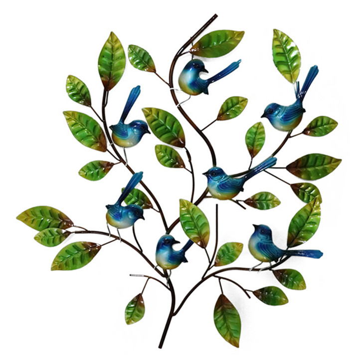Blue Wrens In A Tree Metal Wall Art 73cm