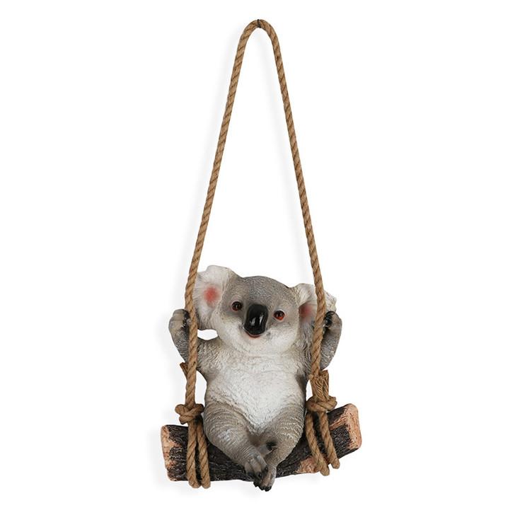 Happy Koala Swinging On A Rope Statue 25cm