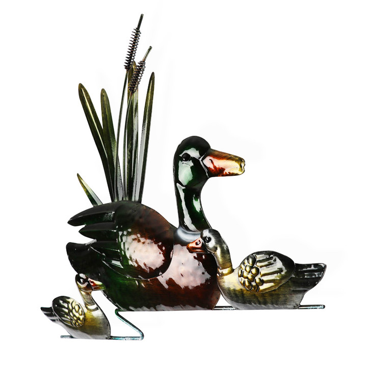 Mother and Baby Ducks Metal Wall Art 46cm