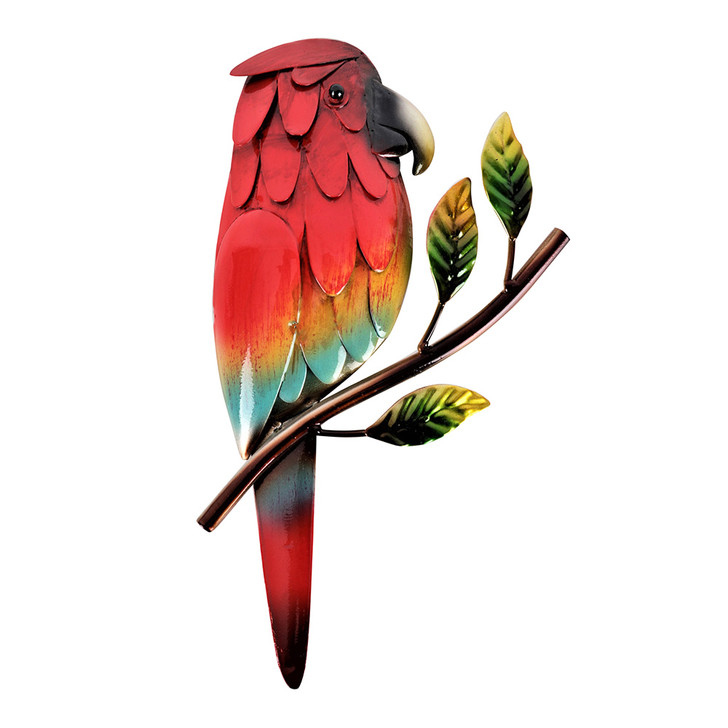 Parrot On A Branch Hanging Metal Wall Art