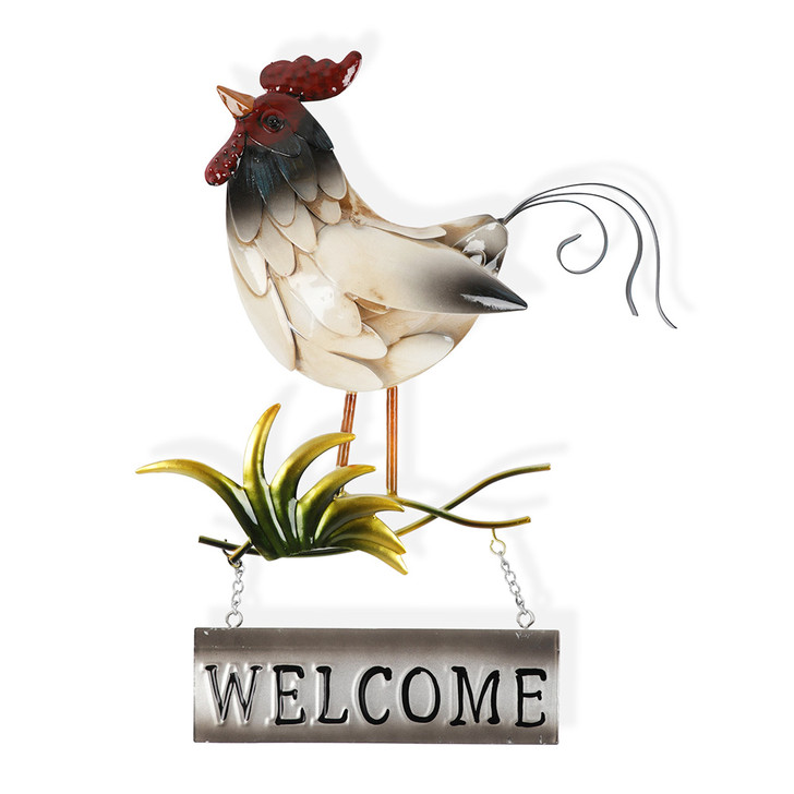 Rooster Metal Hanging Wall Art Welcome Sign 32cm