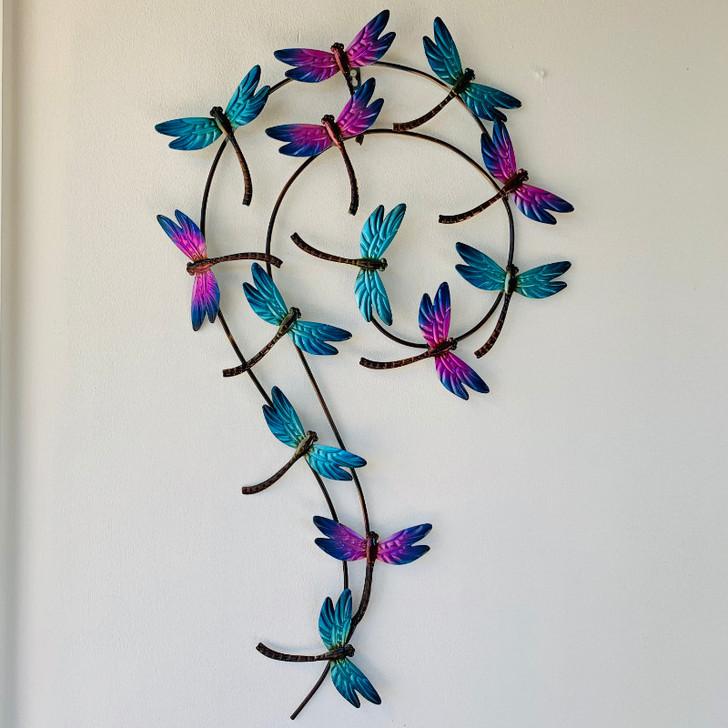 Blue Purple Dragonflies Metal Hanging Wall Art 82cn