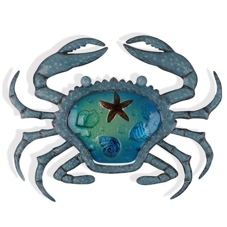 Tones of Blue Sea Crab Metal Wall Art 40cm