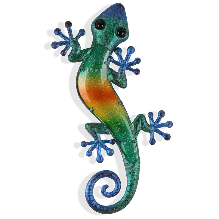 Blue Green Glass Gecko Metal Wall Art 46cm