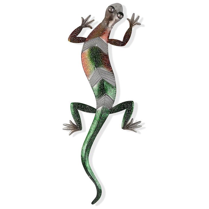 Vibrant Shimmer Gecko Metal Wall Art 57cm