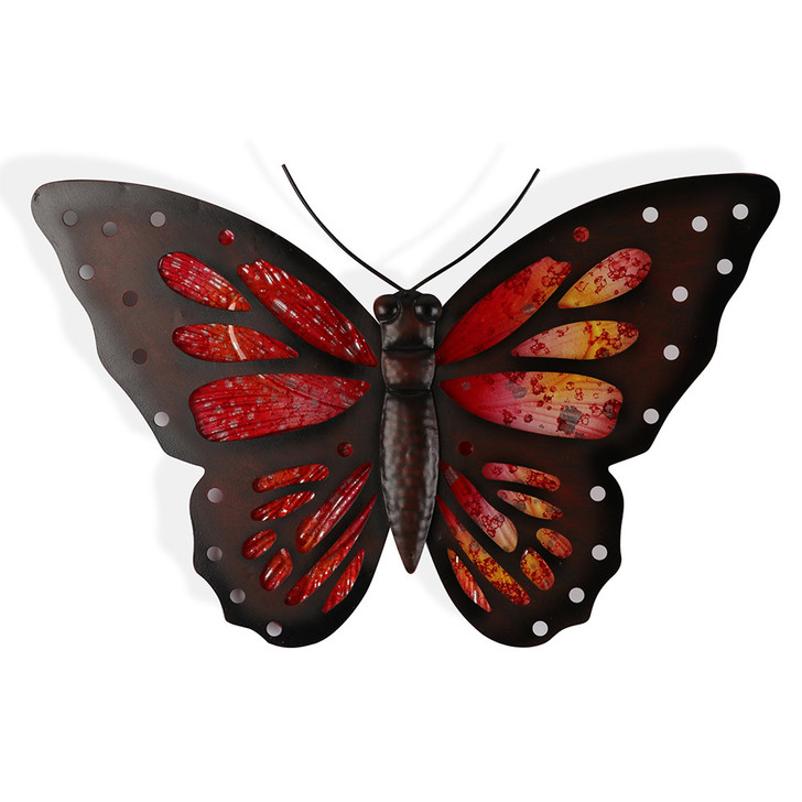 Red Glass Butterfly Hanging Metal Wall Art 39cm