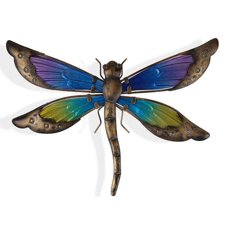 Coloured Glass Dragonfly Hanging Metal Wall Art 35cm