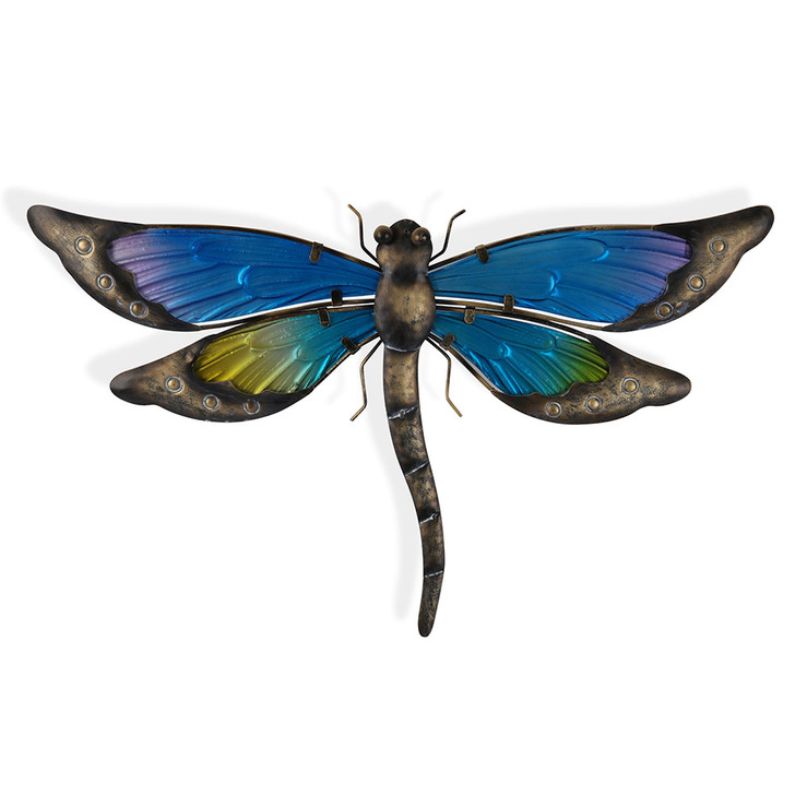 Coloured Glass Dragonfly Hanging Metal Wall Art 47cm
