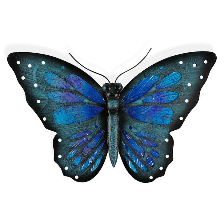 Purple Blue Glass Butterfly Hanging Metal Wall Art 49cm