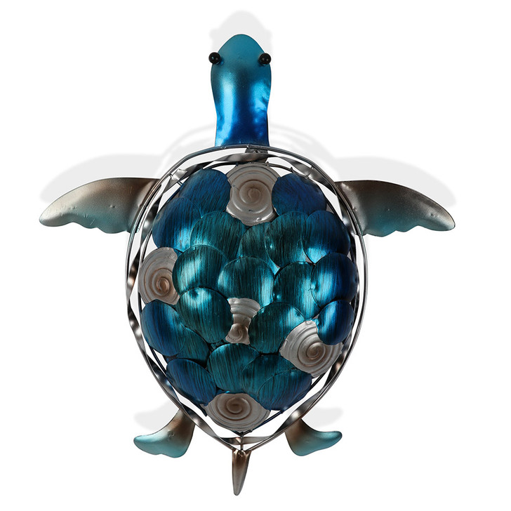 Textured Tones of Blue Turtle Metal Wall Art 45cm