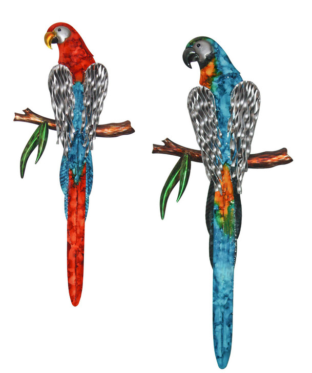 Set Of 2 Red & Blue Parrot Metal Wall Art