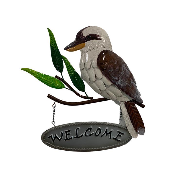 Kookaburra welcome metal wall art 27cm
