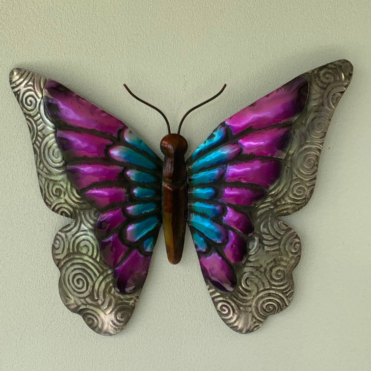 Butterfly Purple Metal Wall Art 30cm