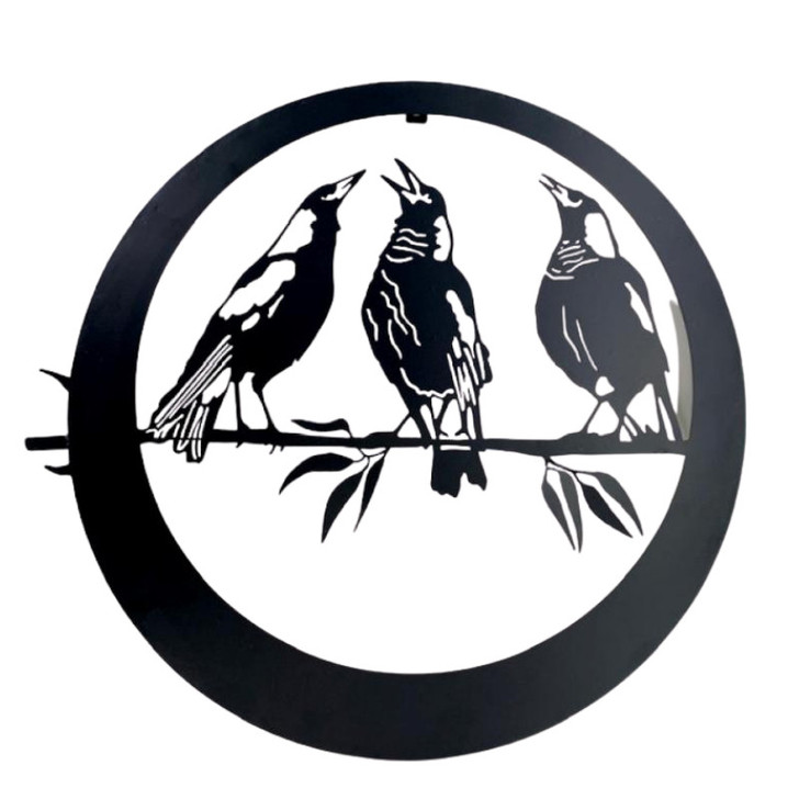 Trio of Magpies Hanging Metal Wall Art cm