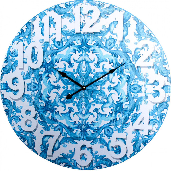 Santorini Blue and White Wall Clock 58cm