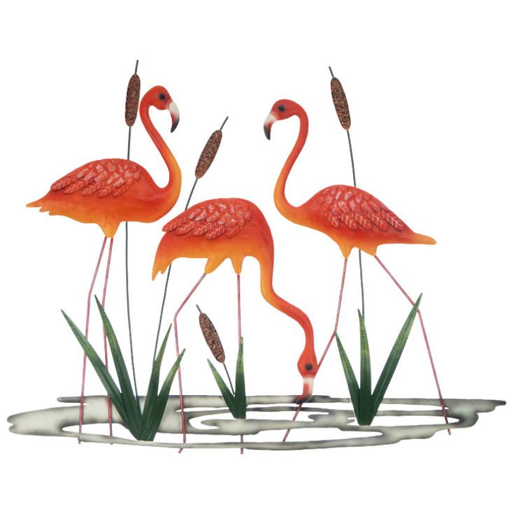 Flamingoes Drinking Metal Wall Art